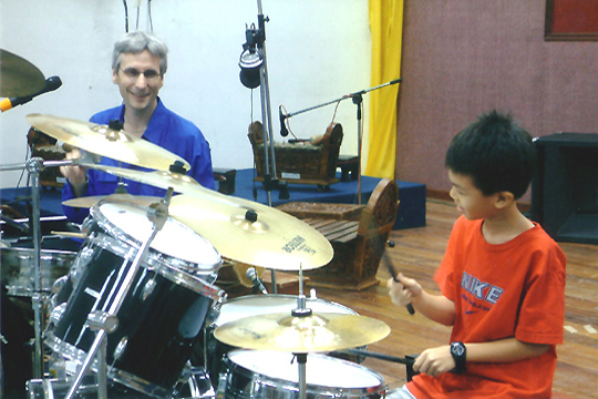 Drums duet with a young chinese student!